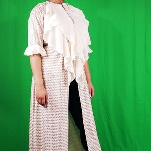 AYABA COLLECTION Dresses - OPEN FRONT KIMONO DRESS WITH RUFFLES